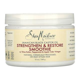 SheaMoisture, Strengthen & Restore Smoothie with Shea Butter, Peppermint & Apple Cider Vinegar, Jamaican Black Castor Oil, 12 oz (340 g)