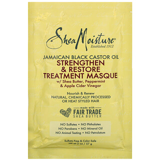 SheaMoisture, 牙買加黑蓖麻油,強化和修復護理髮膜,2 液量盎司(57 毫升)