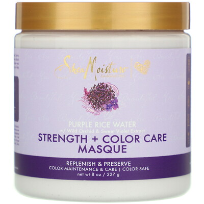 Купить SheaMoisture Purple Rice Water, Strength + Color Care Masque, 8 oz (227 g)
