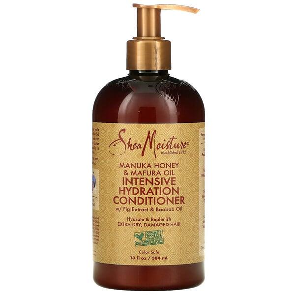"SheaMoisture, מרכך מעניק לחות אינטנסיבית, דבש מאנוקה ושמן מאפורה, 384 מ""ל (13 אונקיות נוזל)"