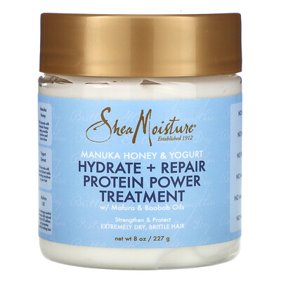 Купить SheaMoisture Manuka Honey & Yogurt, Hydrate + Repair Protein Power Treatment, 8 oz (227 g)