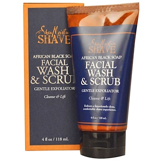 Shea Moisture, African Black Soap Facial Wash & Scrub, 4 fl oz (118 ml)