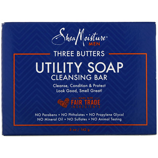 SheaMoisture, Three Butters Utility Soap, Cleansing Bar for Men, 5 oz (142 g)