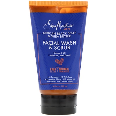 Купить SheaMoisture Men, African Black Soap Facial Wash & Scrub, 4 fl oz (118 ml)