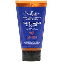 Men, African Black Soap Facial Wash & Scrub, 4 fl oz (118 ml) - фото