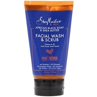 Shea Moisture, Men, African Black Soap & Shea Butter, Facial Wash & Scrub, 4 fl oz (118 ml)