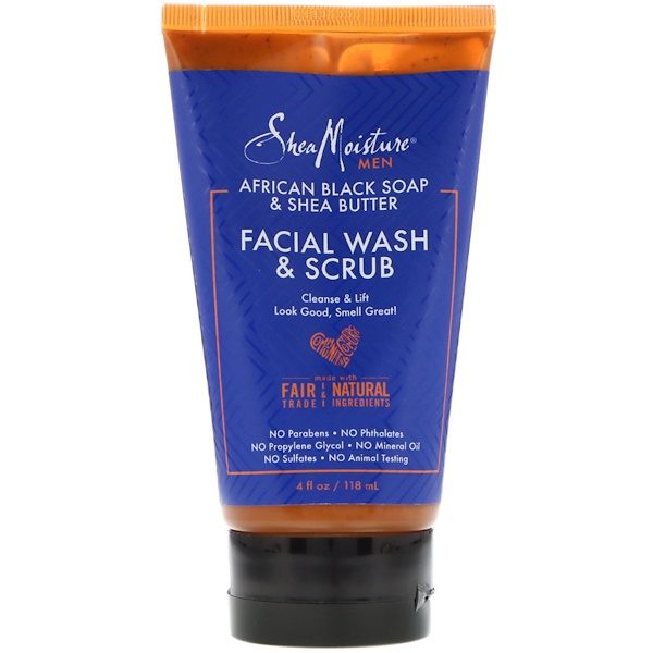 SheaMoisture, Men, African Black Soap Facial Wash & Scrub, 4 fl oz (118 ml)