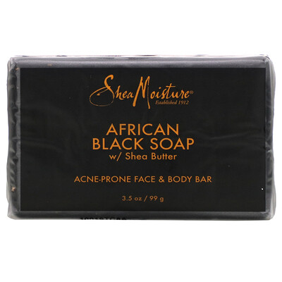 SheaMoisture Acne Prone Face  Body Bar, African Black Soap with Shea Butter, 3.5 oz (99 g)