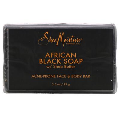 Купить SheaMoisture кусковое мыло для кожи лица и тела, склонной к акне, африканское черное мыло с маслом ши, 99г (3, 5унции)