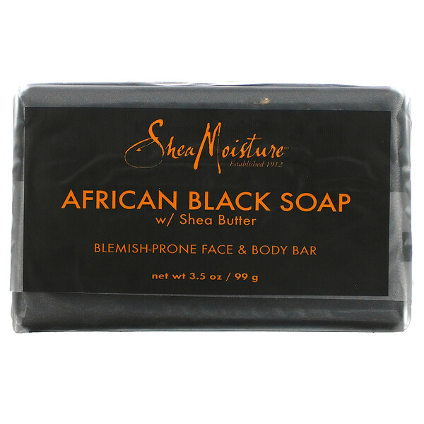 Blemish Prone Face & Body Bar,  African Black Soap with Shea Butter, 3.5 oz (99 g)