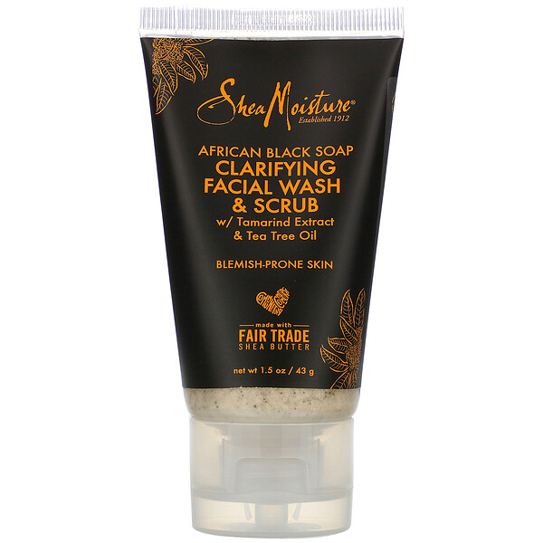 SheaMoisture, African Black Soap, Clarifying Facial Wash & Scrub, 1.5 oz (43 g)