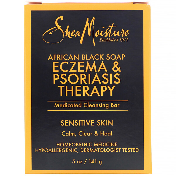 Eczema & Psoriasis Therapy, Medicated Cleansing Bar, African Black Soap, 5 oz (141 g)