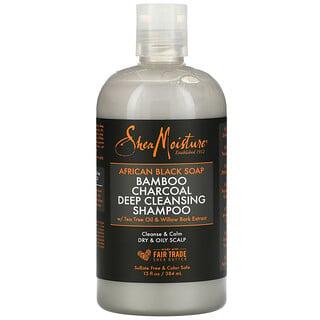 SheaMoisture, шампунь для глубокого очищения с африканским черным мылом и бамбуковым углем, для сухой и жирной кожи головы, с маслом чайного дерева и корой ивы, 384мл (13жидк.унций)