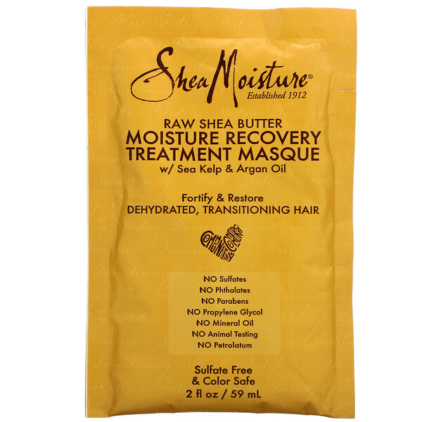 SheaMoisture, Moisture Recovery Treatment Masque with Seal Kelp & Argan Oil, Raw Shea Butter, 2 fl oz (59 ml)