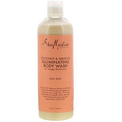 Купить SheaMoisture Coconut & Hibiscus, Illuminating Body Wash, 13 fl oz (384 ml)