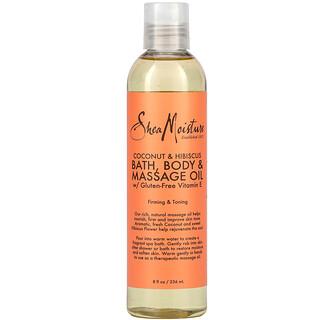 SheaMoisture, Bath, Body & Massage Oil with Gluten-Free Vitamin E, Coconut & Hibiscus, 8 fl oz (236 ml)