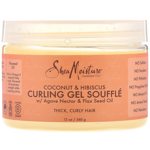 SheaMoisture, Curling Gel Souffle, Coconut & Hibiscus, 12 oz (340 g)