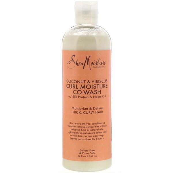 卷髮水潤護理洗髮水,椰子和木槿,12 液量盎司(354 毫升)