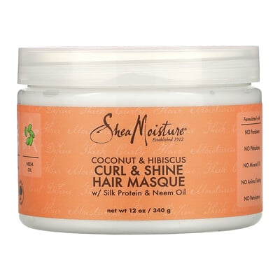 SheaMoisture Curl & Shine Hair Masque, Coconut & Hibiscus, 12 oz (340 g)