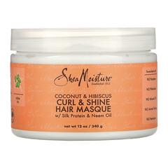 SheaMoisture, Curl & Shine 髮膜,含絲蛋白和印度楝樹油、椰子和木槿,12 盎司(340 克)