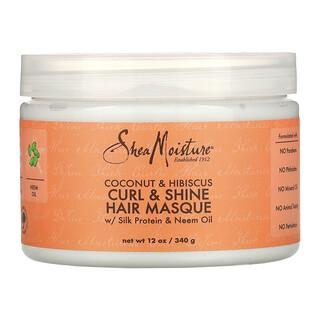 SheaMoisture, Curl & Shine Hair Masque with Silk Protein & Neem Oil, Coconut & Hibiscus,  12 oz (340 g)