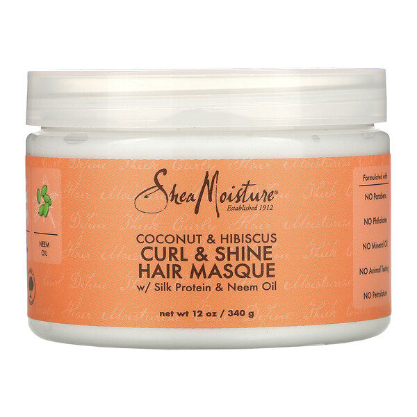 Curl & Shine Hair Masque with Silk Protein & Neem Oil, Coconut & Hibiscus,  12 oz (340 g)