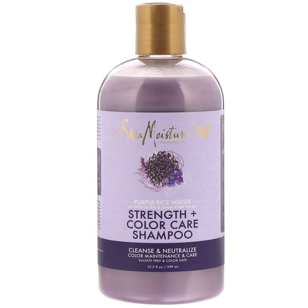 SheaMoisture, Strength + Color Care Shampoo, Purple Rice Water, 13.5 fl oz (399 ml)