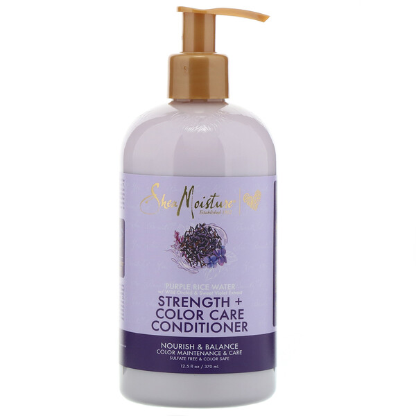 SheaMoisture, Strength + Color Care Conditioner, Purple Rice Water, 12.5 fl oz (370 ml)