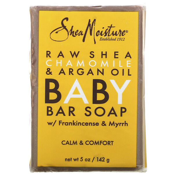 Raw Shea Chamomile & Argan Oil Baby Bar Soap with Frankincense & Myrrh, 5 oz (142 g)