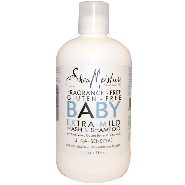 SheaMoisture, Baby Extra-Mild Wash & Shampoo, Fragrance Free, 13 fl oz (384 ml)