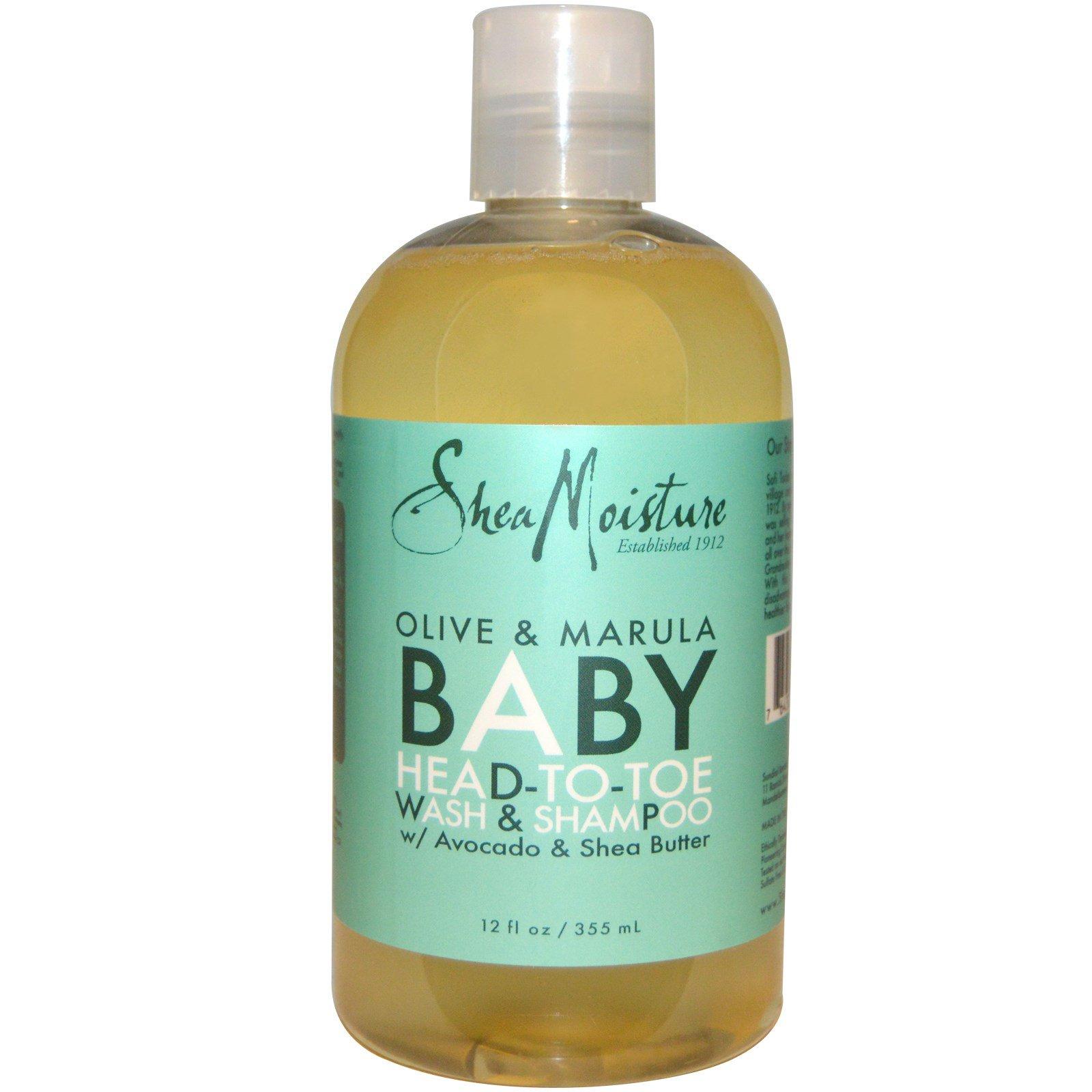 Shea Moisture, Детский гель для душа и шампунь с оливковым маслом и марулой, 355 мл