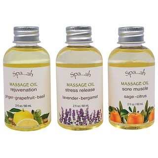 Smith & Vandiver, Spa...ah, Massage Oils Sampler, 3 Piece Set, 2 fl oz (60 ml) Each