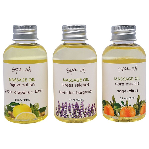 Spa...ah, Massage Oils Sampler, 3 Piece Set, 2 fl oz (60 ml) Each