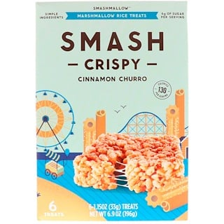 SmashMallow, Smash Crispy, Cinnamon Churro, 6 Treats, 1.15 oz (33 g) Each
