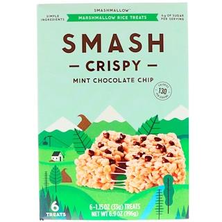 SmashMallow, Smash Crispy, Mint Chocolate Chip, 6 Treats, 1.15 oz (33 g) Each
