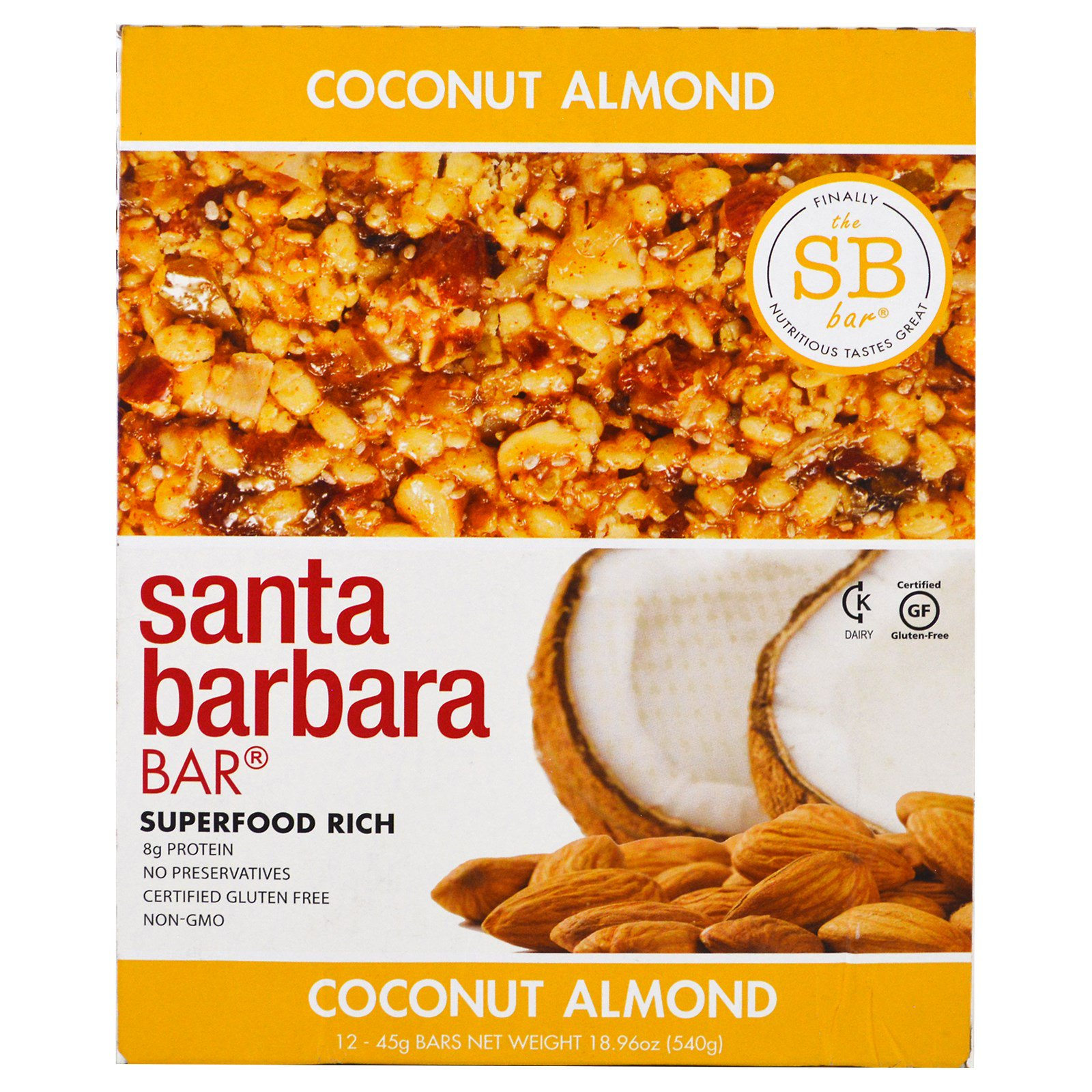 Santa Barbara Bar, Coconut Almond, 12 Bars, 18.96 oz (540 g)
