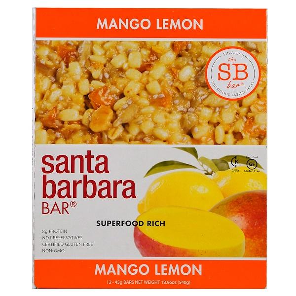 Santa Barbara Bar, Mango Lemon, 12 Bars, 18.96 oz (540 g)
