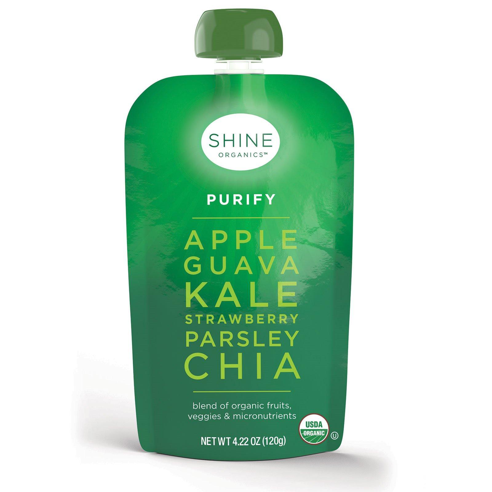 SHINE Organics, Очищение, яблоко, гуава, капуста, клубника, петрушка, чиа, 4 упаковки, по 4,22 унции (120 г) в каждой