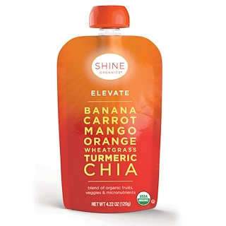SHINE Organics, Elevate, Banana, Carrot, Mango, Organic, Wheat, Turmeric, Chia, 4 Pouches, 4.22 oz (120 g) Each