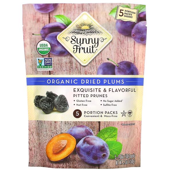 Organic Dried Plums,  5 Portion Packs, 1.06 oz (30 g) Each