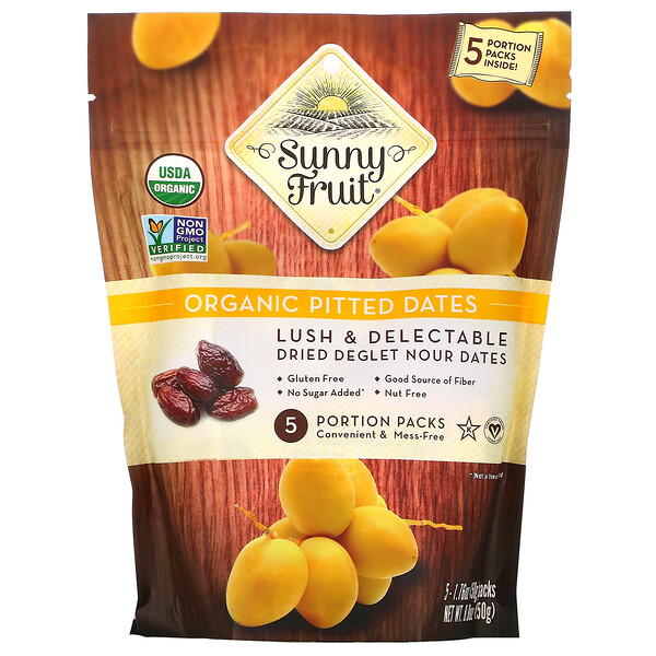 Sunny Fruit, Organic Pitted Dates, 5 Portion Packs, 1.76 oz (50 g) Each