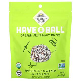 Sunny Fruit, Have A Ball, Organic Fruit & Nut Snacks, Apricot & Cacao Nibs & Hazelnut, 4.44 oz ( 126 g)