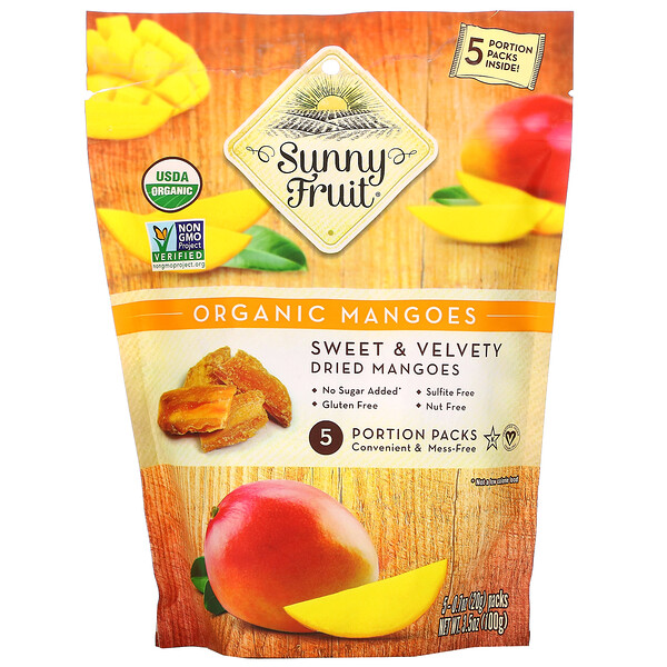 Organic Mangoes, 5 Portion Packs, 0.7 oz (20 g) Each