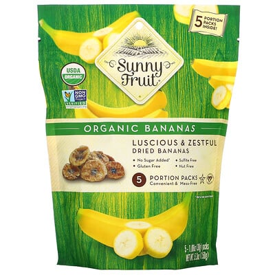 Купить Sunny Fruit Organic Bananas, 5 Portion Packs, 1.06 oz (30 g) Each