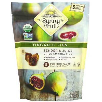 Купить Sunny Fruit Organic Figs, 5 Portion Packs, 1.76 oz ( 50 g) Each