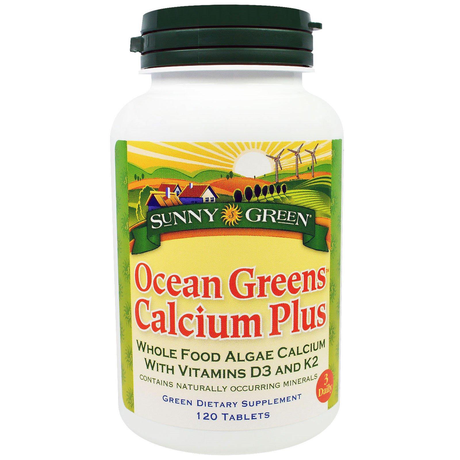 Sunny Green,  Kальций плюс, из океанических водорослей, 120 таблеток