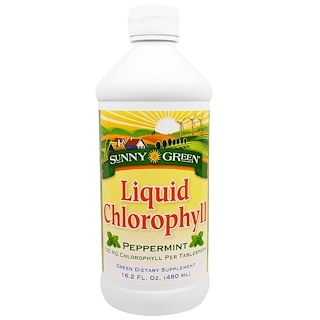 Sunny Green, Liquid Chlorophyll, Peppermint, 100 mg, 16.2 fl oz (480 ml)