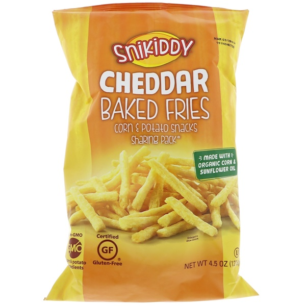 Snikiddy, Fries, Potato & Corn Snacks, Cheddar Cheese, 4、5 oz (127、6 g)