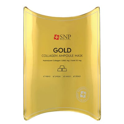 SNP маска для лица с золотом и коллагеном, 10шт., по 25мл (0, 84жидк.унции)  - купить со скидкой