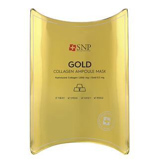 SNP, Gold Collagen Ampoule Beauty Mask, 10 Sheets, 0.84 fl oz (25 ml) Each